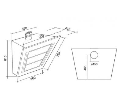 rysunek techniczny Okap przyścienny FALMEC DIAMANTE 90 X