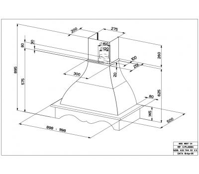 Okap przyścienny Faber West W 90 C7 rysunek techniczny