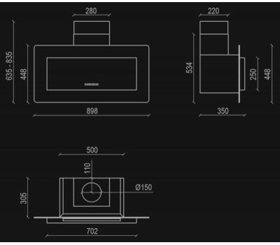 Okap przyścienny NORTBERG Elegant 90 czarny rysunek techniczny