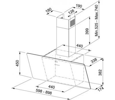 Okap przyścienny FRANKE EVO FPJ 915 V BK A rysunek techniczny