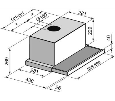 Okap teleskopowy FALMEC Slim Vetro Plus 60 Czarny rysunek techniczny