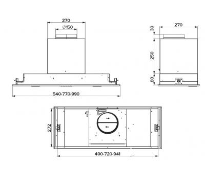 Okap do zabudowy FABER VICTORY 2.0 X 99 rysunek techniczny