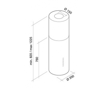 Okap wyspowy FALMEC POLAR Black Isola rysunek techniczny