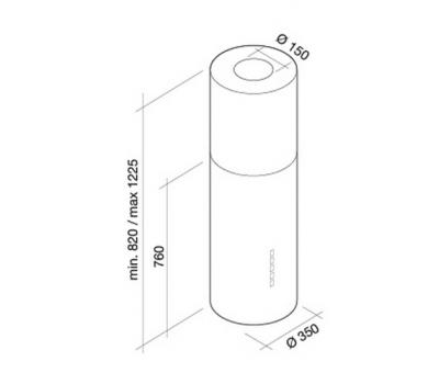 Okap wyspowy FALMEC POLAR White ISOLA rysunek techniczny