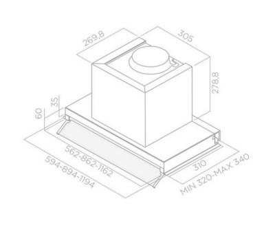 Okap do zabudowy Elica BOX IN IX/A/60 rysunek techniczny