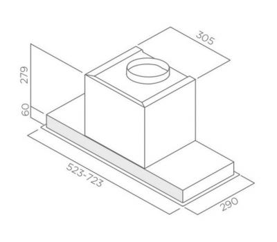 Okap do zabudowy Elica HIDDEN IX/A/60 rysunek techniczny