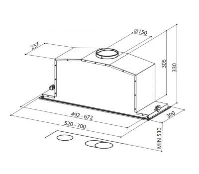Okap do zabudowy FABER INCA Lux Glass Ev8 X/BK 70 rysunek techniczny