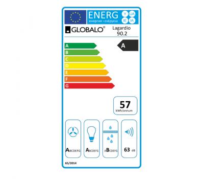 Okap przyścienny GLOBALO Lagardio 90.2 White Eko Max klasa energetyczna