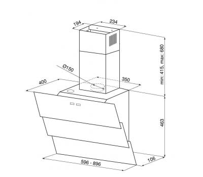 Okap przyścienny GLOBALO Larto 90.2 White/Wh Eko Max rysunek techniczny