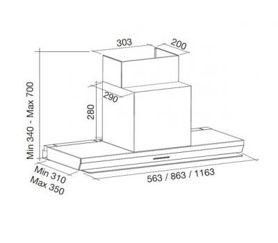 Okap przyścienny FALMEC VIRGOLA 120 rysunek techniczny