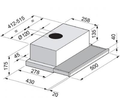 Okap teleskopowy FALMEC SLIM 50 X EVO rysunek techniczny