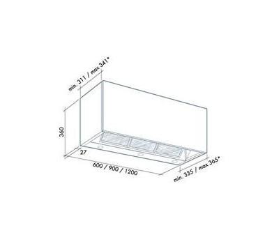 Okap do zabudowy FALMEC INTEGRATA 90 X rysunek techniczny