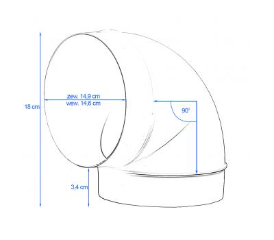 Kolanko okrągłe DOMUS 90° fi 15 cm kod 690 rysunek techniczny