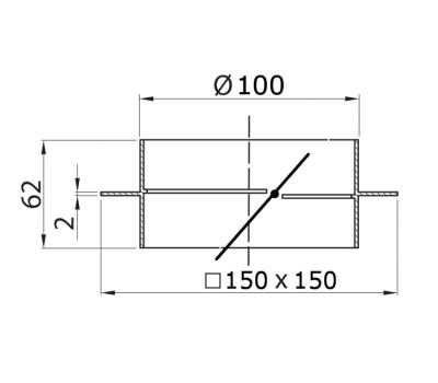 Łącznik kanałów okrągłych DOMUS z zaworem zwr. fi 10 i kołnierzem kod 495 rysunek techniczny