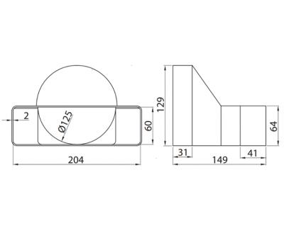 Łącznik przekrojów zmiennych 204x60 kod 570 rysunek techniczny