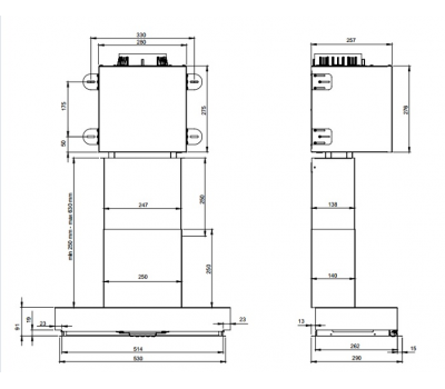 Okap do zabudowy BERG GAP53 rysunek techniczny