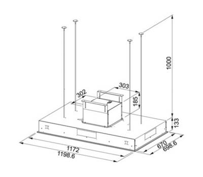 Okap sufitowy Franke Maris Ceiling FCBI 1204 C WH rysunek techniczny