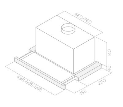 Okap teleskopowy ELICA ELITE14 LUX GRIX/A/50 rysunek techniczny