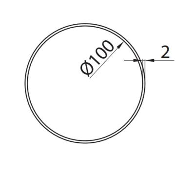 Rura okrągła DOMUS fi 10 cm/1 m kod 1100-4 rysunek techniczny