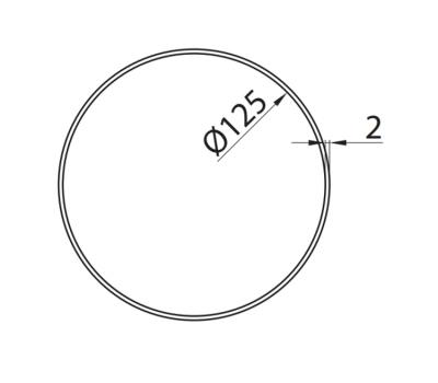 Rura okrągła DOMUS fi 12,5 cm/0,5 m kod 150-5 rysunek techniczny