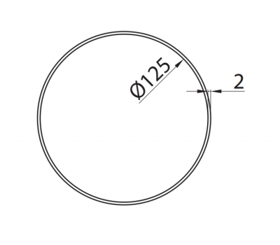 Rura okrągła DOMUS fi 12,5 cm/1 m kod 1100-5 rysunek techniczny