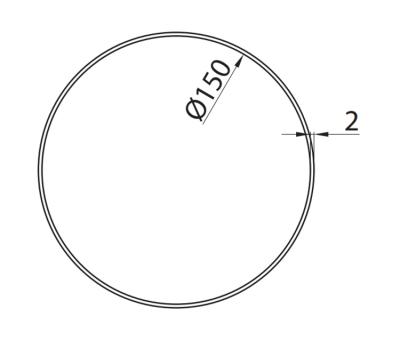 Rura okrągła DOMUS fi 15 cm/0,5 m kod 150-6 rysunek techniczny