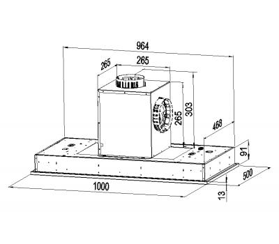 Okap sufitowy Globalo LIVENO 100.2 EKO MAX Z SILNIKIEM rysunek techniczny