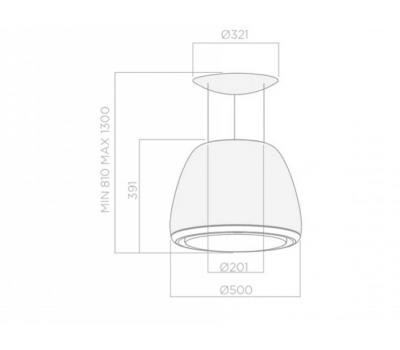 Okap wyspowy ELICA EDITH CLASSIC/F/50 rysunek techniczny