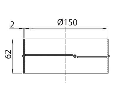Łącznik kanałów okrągłych DOMUS fi 15 cm kod 693 rysunek techniczny