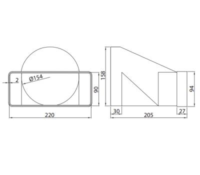 Łącznik przekrojów zmiennych 220x90 kod 970 rysunek techniczny