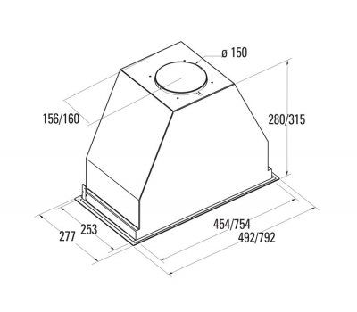 Okap do zabudowy NODOR GAT 850 INOX 60 rysunek techniczny
