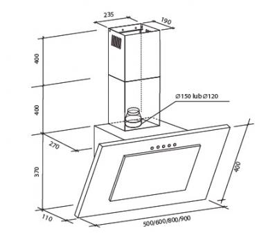 Okap przyścienny Toflesz OK-3 FIERA SPRINT 90 500 m3/h rysunek techniczny
