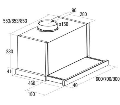 Okap teleskopowy NODOR Extender Plus Inox 900 rysunek techniczny