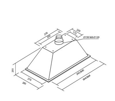 Okap do zabudowy Toflesz OK-3 LINEA PLUS 60 500 m3/h rysunek techniczny
