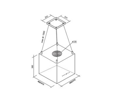 Okap wyspowy Toflesz Ok-4 SANDY MINI ISLAND INOX 700 m3/h ( na linkach) rysunek techniczny