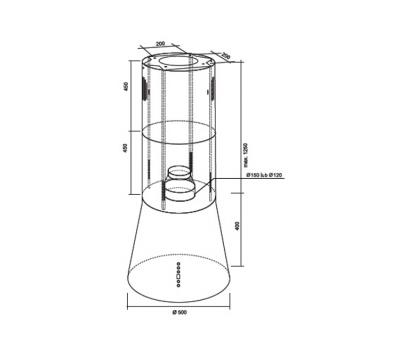 Okap wyspowy Toflesz Galaxy Island Biały 700 m3/h rysunek techniczny