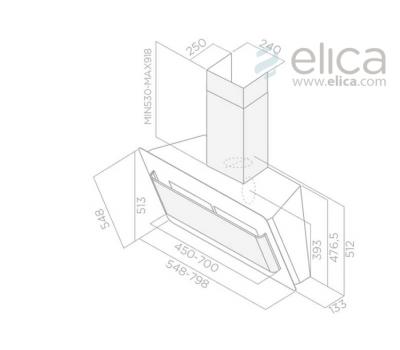 Okap przyścienny ELICA BELT LUX BL/A/80 czarny rysunek techniczny