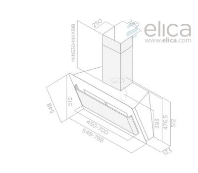 Okap przyścienny ELICA BELT LUX WH/A/55 biały rysunek techniczny