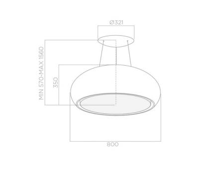 Okap wyspowy ELICA SEASHELL WH/F/80 rysunek techniczny