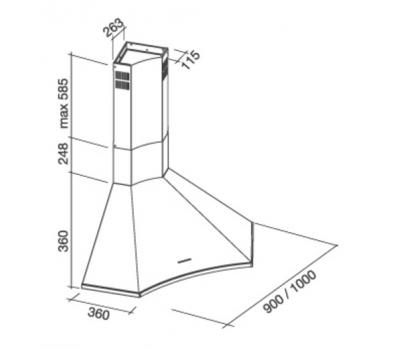 Okap narożny FALMEC ELIOS ANGOLO 100 Narożny 600 m3/h rysunek techniczny