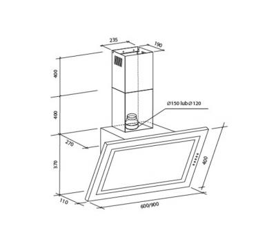 Okap przyścienny Toflesz OK-3 VERTIS CZARNY 60 500 m3/h rysunek techniczny