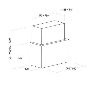 Okap przyścienny NODOR Cube Glass Black 900 rysunek techniczny