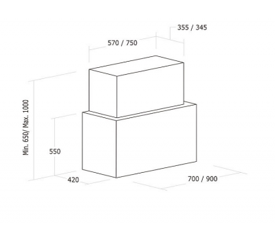 Okap przyścienny NODOR Cube Glass White 900 rysunek techniczny