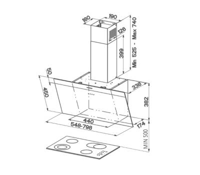 Okap przyścienny FABER DAISY EG6 BK 80 rysunek techniczny