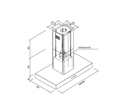 Okap wyspowy Toflesz Ok-6 ETNA 60 Biały 850 m3/h rysunek techniczny