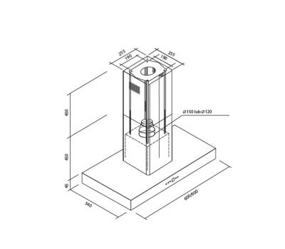 Okap wyspowy Toflesz Ok-6 ETNA 60 Biały 700 m3/h rysunek techniczny