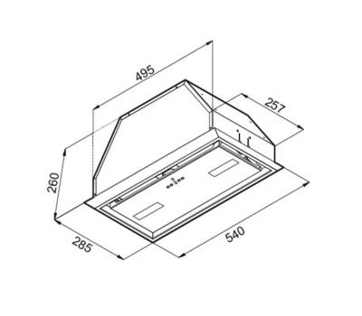 Okap do zabudowy VDB Flat 53 rysunek techniczny