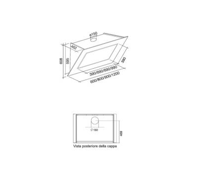 Okap przyścienny Falmec Quasar 60 szkło w kolorze białym rysunek techniczny