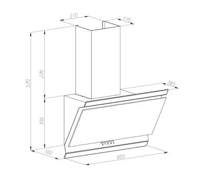 Okap przyścienny VDB Deco 60, kolor szkła: czarny, kolor czaszy: czarny rysunek techniczny