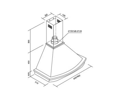 Okap przyścienny Toflesz OK-3 RUSTICAL RODEO 90 500 m3/h rysunek techniczny